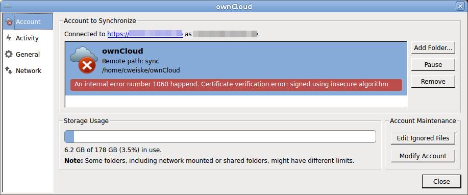 owncloud client ssl error - p cweiske de